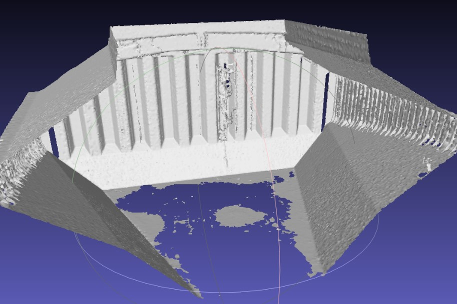 3D LIDAR based mesh as obtained from manual registration, clean-up and meshing of seven point-clouds. This model is composed of 400'000 triangle faces.